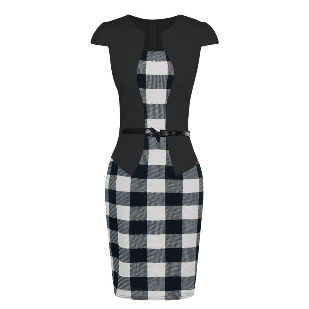 Birdfly Office Womens Plaid Patchwork Pencil Skirts Formal Working Dress with Three Quarter Sleeve Plus Size 2L 3L DarkBlue 93 Shortsleeve,XL /…