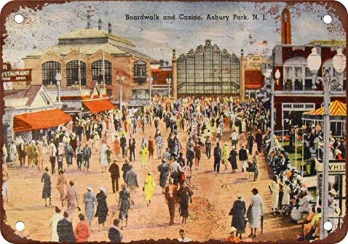Asbury Park Boardwalk and Casino Vintage Look Reproduction Metal Tin Sign Outdoor Decor Aluminum Sign for Garage Driveway