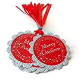 Red and Blue Merry Christmas Holiday Gift Tags - Wreath Holiday Christmas Favor Tags - Set of 12