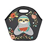 InterestPrint Cute Sloth Watermelon Reusable Insulated Neoprene Lunch Tote Bag Cooler 11.93'' x 11.22'' x 6.69'', Hipster Animal Glasses Flower Portable Lunchbox Handbag for Men Women Adult Kids