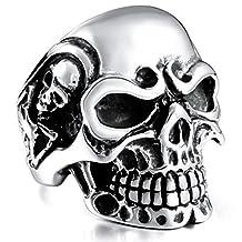 MOWOM Black Stainless Steel Ring Silver Tone Skull Bone