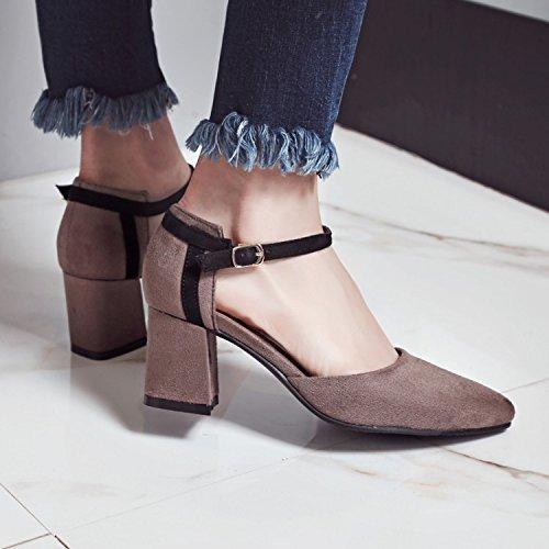 JUWOJIA Mujeres Caqui Señaló Mujer De High Tacón Verano De Hebilla En Cuadrado Sandalias Heeled Colores Sandals 4 4w4qarxX