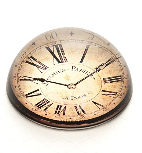 (VA Glass Dome Vintage Clock Paper Weight/Paperweight)