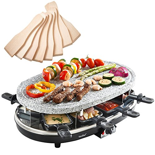 VonShef 8 Person Natural Stone Raclette Grill with Variable Temperature...