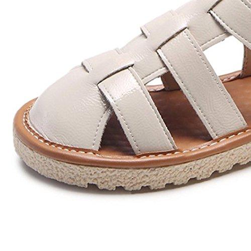 mujer confort planas sandalias beige de Beige de negro tacón PU Zapatos ZHZNVX de verano w80ICxqBnE