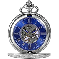 KS Full Hunter Men's Mechanical Pocket Watch Retro Rome Number Silver Case With Chain KSP071