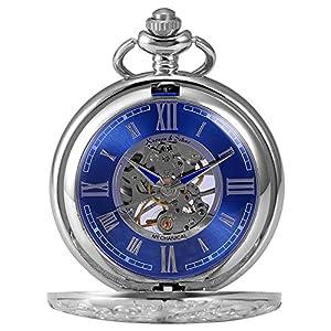 KS Reloj de Bolsillo con Cadena Hombres Antiguos Steampunk Esqueleto Mecánico con Caja de Regalo Color Plateado KSP071