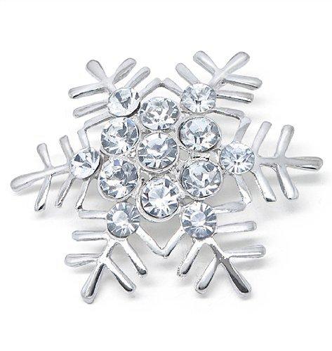(Katie's Style Silvertone Rhinestone Crystal Snowflake Brooch Pin)