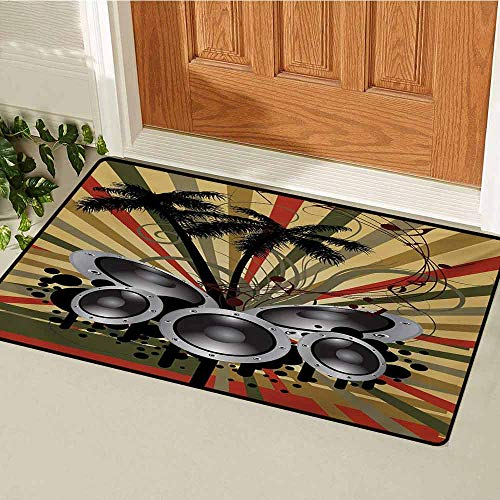 Modern Commercial Grade Entrance mat Palm Trees Striped Ombre Backdrop Music Loudspeaker Art Print for entrances garages patios W23.6 x L35.4 Inch Red Tan Hunter Green Black Grey