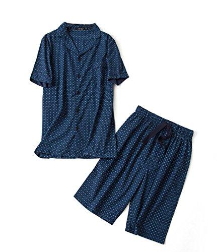 Men's Cotton Woven Short Pajama Set Sleepwear (Deep Blue Cube, Large) by SUZEL