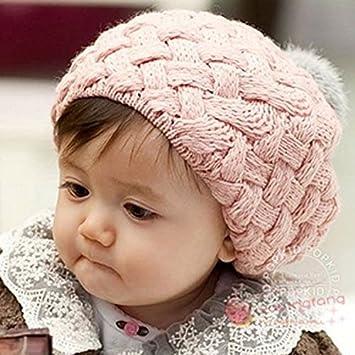 HHM baby-korean bébé Boule de fourrure de lapin chapeau béret pour bébé  Glace Crème 9c3d838ece0