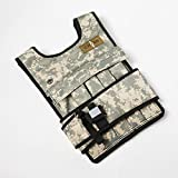 CROSS101 Adjustable Camouflage Weighted Vest with Shoulder Pads, 40 lb