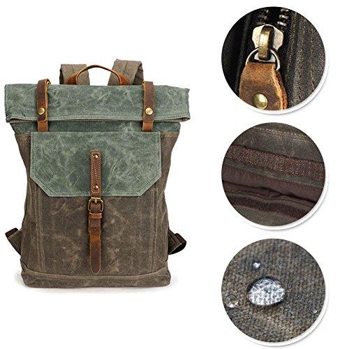 Yoome 15,6 Zoll Laptoptasche Leinwand Vintage Rucksack Leder Casual Bookbag Männer Rucksack Schultasche - Weiß Weiß