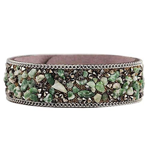 Susenstone Fashion Crystal Stone Bracelets Unisex Bracelets Cowhide Bracelets (Army (Military Quartz Bracelet)