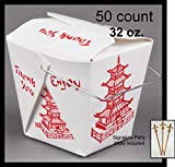 50 count 32 oz. PAGODA Wire Handle Chinese Take Out Box w/ Signature Party Picks