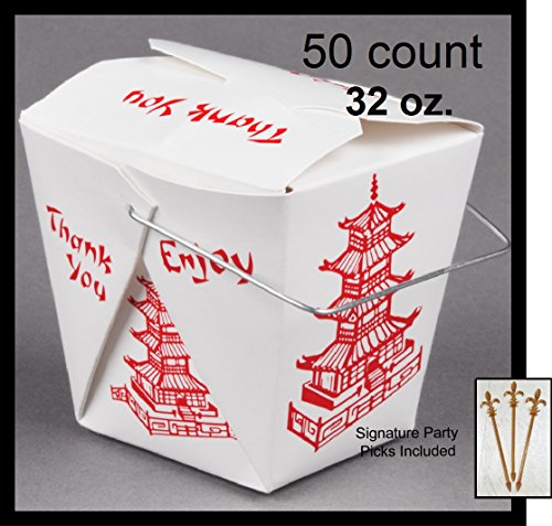 50 count 32 oz. PAGODA Wire Handle Chinese Take Out Box w/ Signature Party (Quart Box)