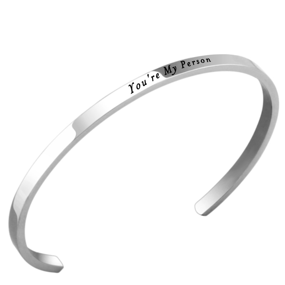 Lademayh You're My Person Love Bracelet Engraved Inspirational Faith Bracelets for Her, Adjustable Stainless Steel Mantra Band
