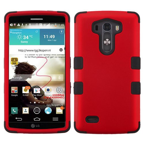 Asmyna Titanium TUFF Hybrid Phone Protector Cover for LG G3 - Retail Packaging - Red/Black (Lg G3 Titanium)
