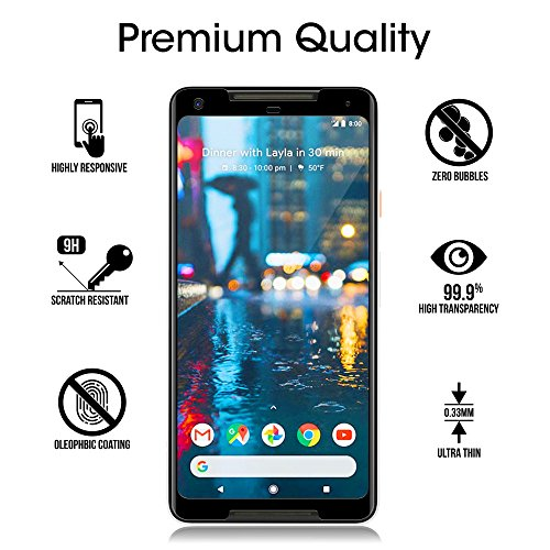 amFilm Google Pixel 2 XL Screen Protector Glass, Google Pixel 2 XL Tempered Glass Screen Protector 3D Curved with Dot Matrix for Google Pixel 2 XL 0.3mm (1-Pack) [UPDATED ADHESIVE VERSION] by amFilm (Image #4)