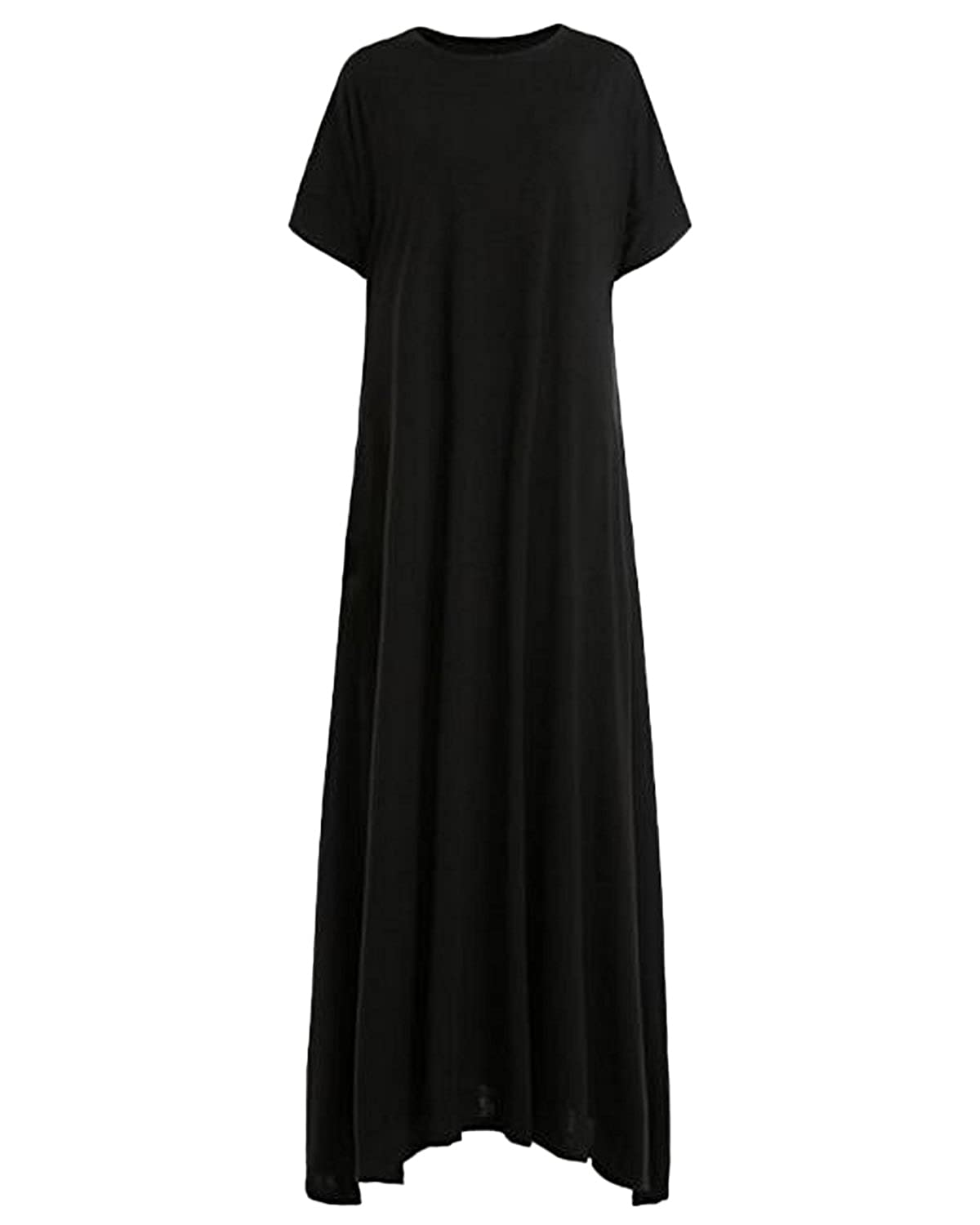 479019f5b1 Kidsform Women's Loose Maxi Dress Short Sleeve Casual Kaftan Party Long  Dresses Plain Solid with Pockets at Amazon Women's Clothing store: