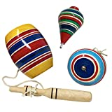 Mexican Wooden Toys Pack Containing Yoyo, Trompo