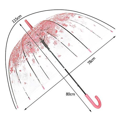 XUANLAN Transparent Cherry Blossom Bubble Dome Umbrella, Romantic Clear Semi-automatic POE Stick Umbrella for Rain and Wind (Pink Cherry)