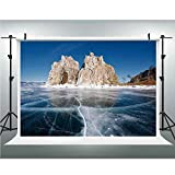 Photo Studio,Winter,Muslin Collapsible Backdrop Background for Photography, Video and Television,5x6.5ft,Frozen Lake Baikal in Siberia with Icicles Scenic Nature Surface Structure Cold Climate Decorat