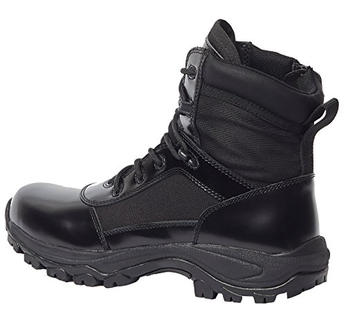 Belleville 6  Hot Weather High Shine Side Zip Tactical Boots  Black  12  Width  W