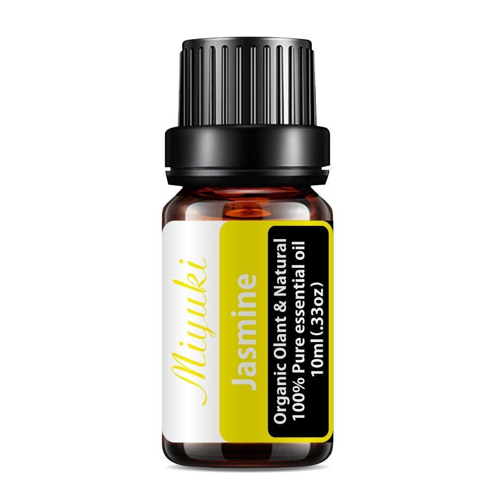 Miyuki Jasmine Essential Oils Organic Plant & Natural 100% Pure Therapeutic Grade Aromatherapy Jasmine Oil for Diffuser, Humidifier, Massage, Sleep, Perfume, Bath, SPA, Skin & Hair Care-10ml