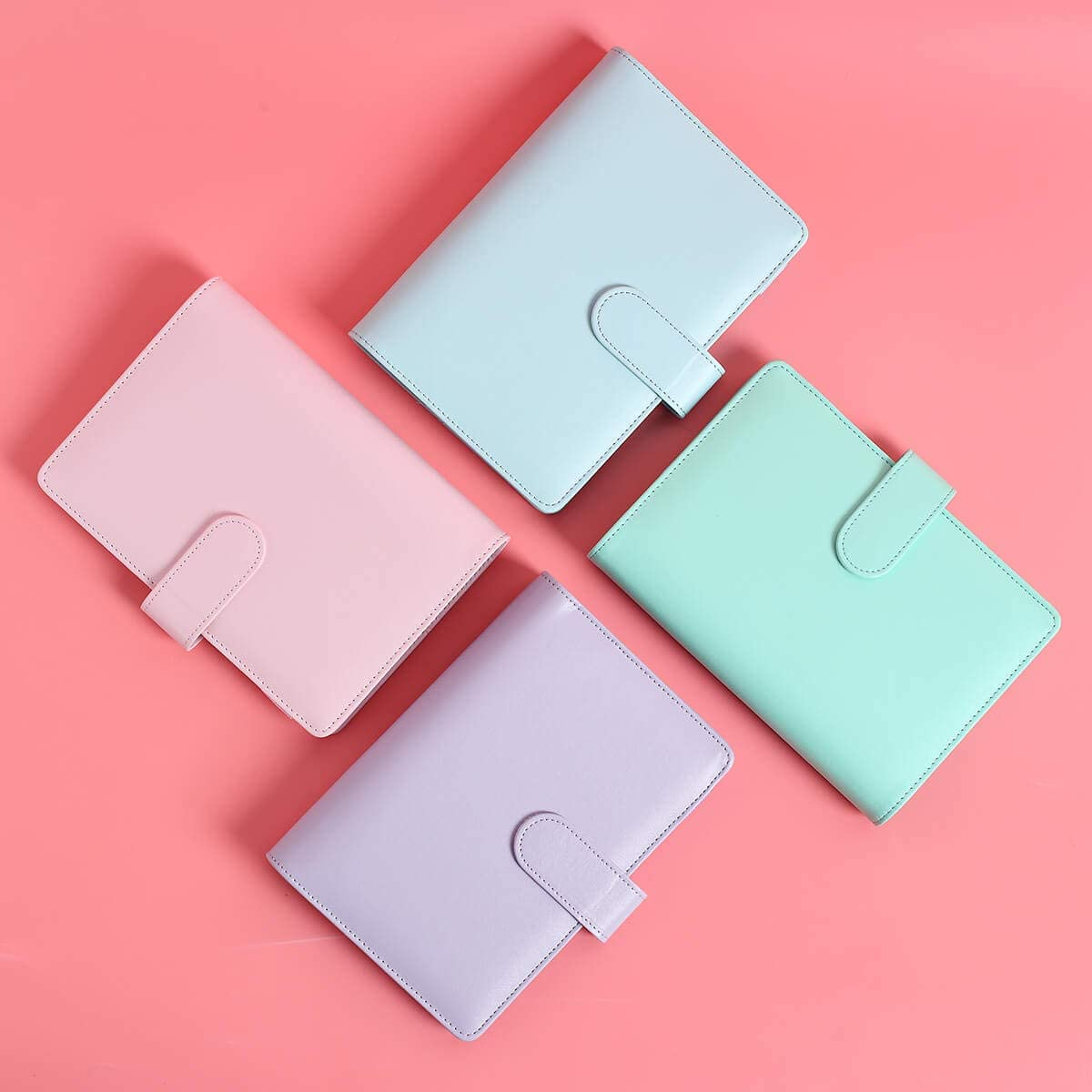 Personal Diary Schedule Organizer Planner Binder Cover with Magnetic Buckle Closure Refillable A6 Inner Filler Papers Journal Binder Cover with 6 Ring Lavender A6 PU Leather Notebook Binder