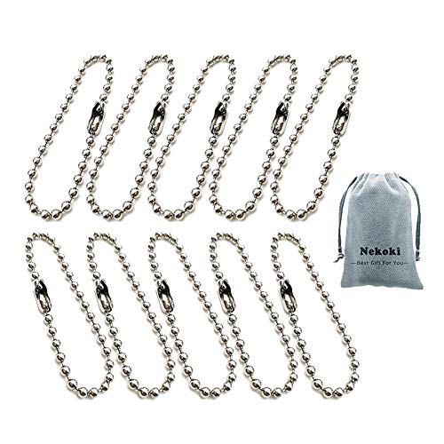 - 10 Pieces Stainless Steel Ball Bead Chains Connector Clasp Extension Keychain Tag Chain Metal Pull Key Rings for Jewelry Finding Making Accessories, 2.4 mm Diameter