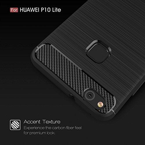 Funda Samsung Galaxy J7 Prime, EUGO Protector Funda Negro Gel de Silicona Carcasa Fibra de Carbono Funda para Samsung Galaxy J7 Prime Huawei P10 Lite