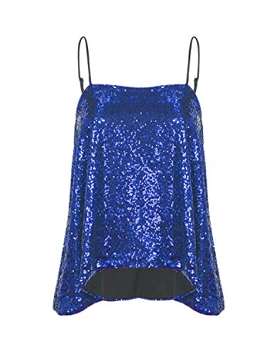 Blue Sequin - HaoDuoYi Womens Sparkly Sequin Spaghetti Strap Crop Top(L,Royal Blue)