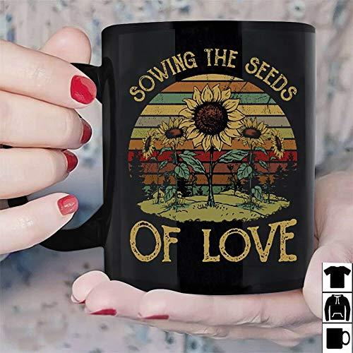 Seeds Sowing Sunflower (Sunflower Sowing The Seeds Of Love Vintage Mug Black Ceramic 11oz Tea Coffee Cup)