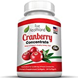 TRIPLE STRENGTH Cranberry Concentrate Supplement Pills For Urinary Tract Infection UTI. Equal To 126000mg Fresh Cranberries. Promote Kidney Bladder Health For Men And Women. Easy To Swallow Softgels