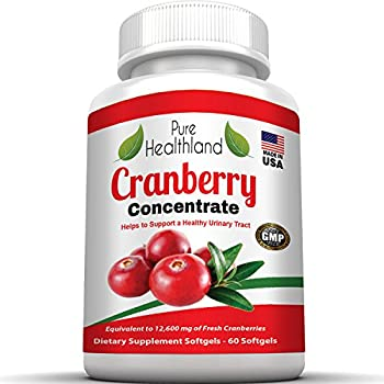 TRIPLE STRENGTH Cranberry Concentrate Supplement Pills For Urinary Tract Infection UTI. Equal To 12600mg Fresh Cranberries. Promote Kidney Bladder Health For Men And Women. Easy To Swallow Softgels