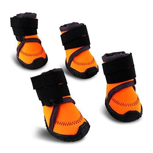 HaveGet Adjustable Straps Dog Shoes Waterproof Dog Boots with Anti-Slip Sole for All Weather Suitable for Small Medium Large Dogs (Dog Weather Boots)