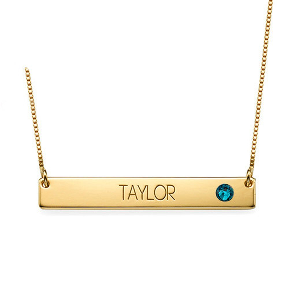 Custom Made Any Name KIKISHOPQ Bar Necklace Personalized Birthstone Name Necklace