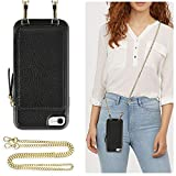 ZVE Case for Apple iPhone 7 and iPhone 8, 4.7 inch, Wallet Case with Crossbody Chain Credit Card Holder Slot Zipper Purse Wrist Strap Case for Apple iPhone 8/7 4.7 inch - Black