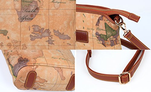 Brown6 Crossbody Bag Purse Retro Brown World Map Aibag qS706P
