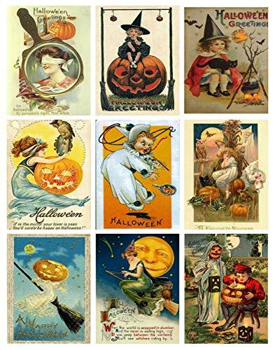 Halloween Collage Sheet - Victorian Vintage Halloween Printed Collage Sheet 8.5 x 11