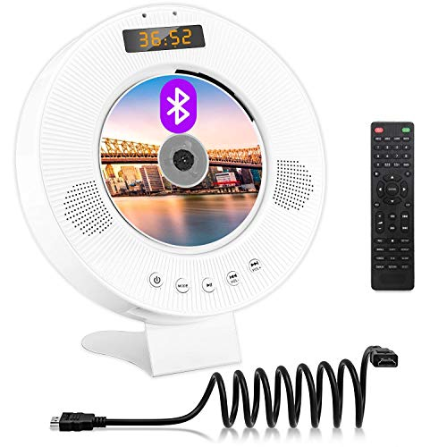 Jinhoo Portable Bluetooth DVD CD Player Wall Mountable DVD CD Player with Built-in HiFi Speakers, PAL NTSC System, Anti-Skip Protection, USB and HDMI Output for TV Projector, HDMI AV Cable Included