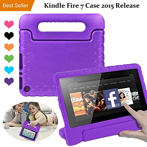 Amazon Kindle Fire 7 Case Tablet Kid-Proof (5th Generation 2015 Release Edition) kickstand EVA Shockproof Lightweight Folio Handle Stand Cover 7 inch for Kids Boys Girls Purple CAM-ULATA