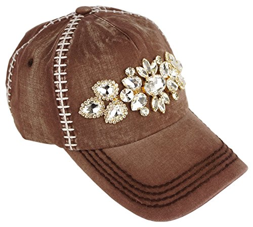 Olive & Pique Football Themed Embellished Rhinestone Baseball Cap with White Laced Stitching ()