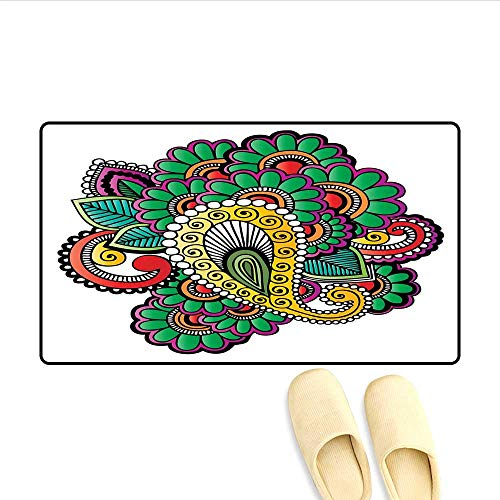 (Doormat Vivid Colored Floral Arrangement in Abstract Fashion Flowers Petals Swirls Curves Bath Mat for Tub Multicolor 24