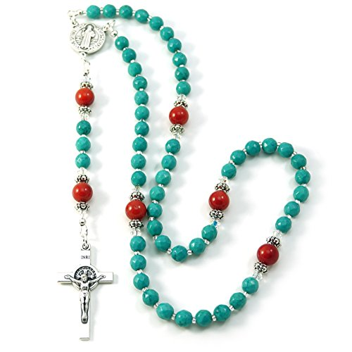 Silver Inches Catholic Prayer Beads Turquoise Coral Saint Benedict Catholic Rosary with Swarovski Beads Blessed with Anointing Oil