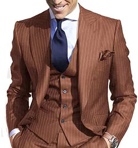 76cbb0ea932e JYDress Men's Pinstripe Suit Slim Fit Stripe Peaked Lapel Jacket Vest Pants  Sets