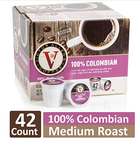 Victor Allen's Coffee K Cups, 100% Colombian Single Serve Medium Roast Coffee, 42 Count, Keurig 2.0 Brewer Compatible