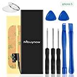 1440 mAh Replacement Battery Compatible with iPhone 5, Mbuynow Replacement Battery Kit 0 Cycle, Complete Tools, Adhesive Strips- 1 Year Warranty