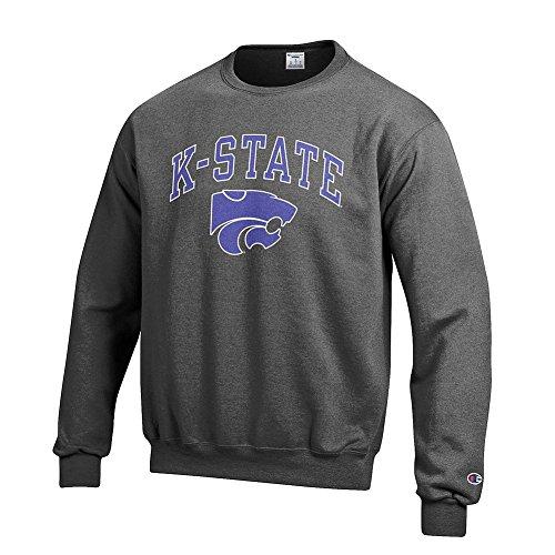 Elite Fan Shop NCAA Kansas State Wildcats Men's Crewneck Charcoal Gray Sweatshirt, Dark Heather, Large